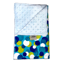 Overlapping Circles Blue/Light Blue Minky Dot Blanket-SB54