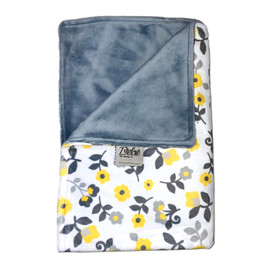 Yellow Flowerd/Solid Grey Blanket-SB55