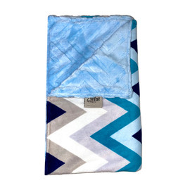 Zigzag Blue/Chevron Embosses Light Blue Blanket-SB58