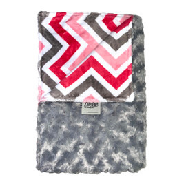 Rosebud Grey/Chevron Hot Pink Grey Blanket-SB60