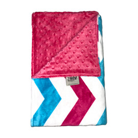 Wide Chevron Hot Pink/Hot Pink Minky Blanket-SB61