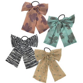 Girls Chiffon Pattern Bow Pony