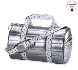 Top Trenz Puffer Duffel Bag with Grey Star Strap-DUF-PUFFWHITEGREYSTAR