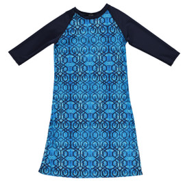 Girls Geo Blue/Navy Swim Dress Cover up