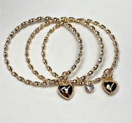 Girls Twisted Heart Bangle Set