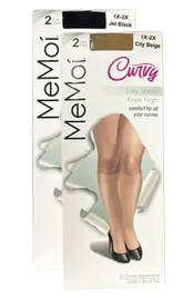 Women's Curvy Silky Sheer 2 Pair Pack Knee High