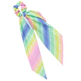Girls Pastel Striped Scrunchy w/ Tails - S3053