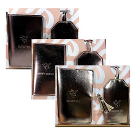 Leatherette Passport Cover and Travel Tag Set