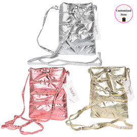 Metallic Quilted Cell/Camera/Pouch Crossbody Bag