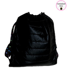 Top Trenz Metallic Puffer Drawstring Sling Backpack with w/ Scatter Star Strap