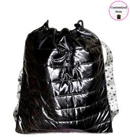 Top Trenz Metallic Puffer Drawstring Sling Backpack with Snowflake Strap