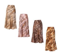 Women's Animal Print Satin Skirt
