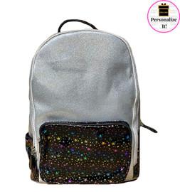 Bari Lynn Silver Glitter & Stars Backpack - BLSGSB