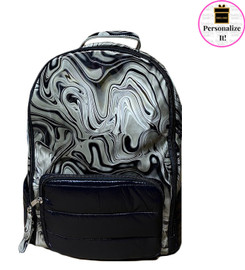 Bari Lynn Black & Gray Swirl Backpack - BLBGSB