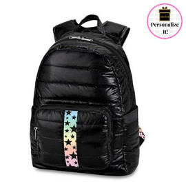 Black with Gradient Black Star Puffer Backpack