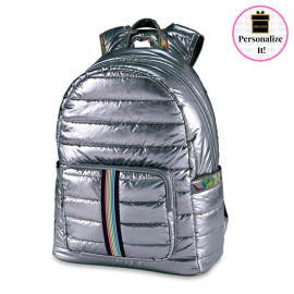 Gunmetal Puffer Backpack with Track Strap