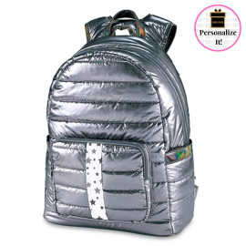 Gunmetal Puffer Backpack with White Snowflake Star Strap