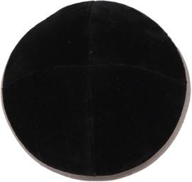 TCS Yarmulka Velvet Black With Taupe Rim