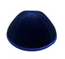 TCS Yarmulka Navy Velvet With Royal Blue Rim And Grey Stitching