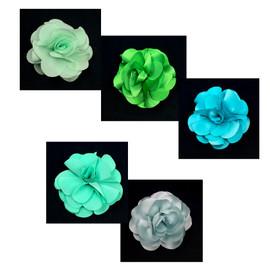 Green Tones Satin Flower Hair Clip