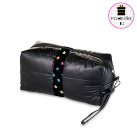 Rush Top Trenz Black Puffer Cosmetic Bag with Scattered Stars