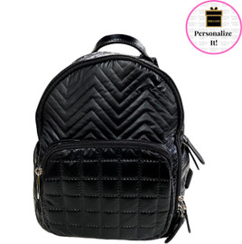Bari Lynn MINI Black Quilted Chevron Backpack