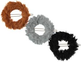 Girls Fur Circle Hair Clip
