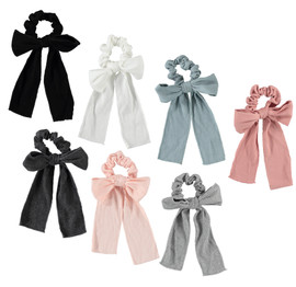 Girls Ribbed Bow Tails Scrunchie