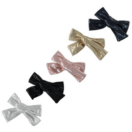 Girls Small Metallic Bow Tails Clip