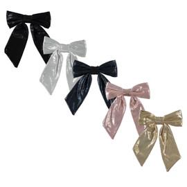 Girls Medium Metallic Bow Tails Clip