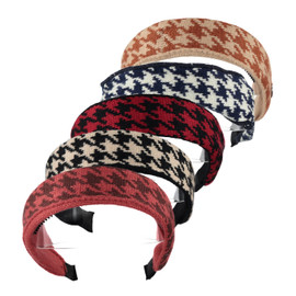 Girls Knit Houndstooth Covered Headband