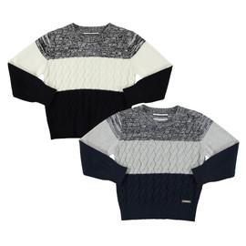Boys Crew Neck Tri Color Basket Weave Sweater