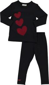 Girls Jersey Front Velvet Hearts 2Pc Pajama