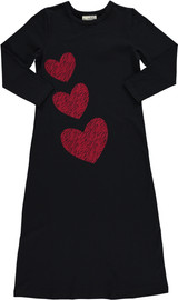 Girls Jersey Front Velvet Printed Nightgown