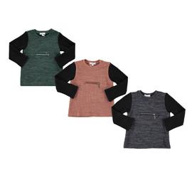 Girls/Boys Rib Knit Zipper Top