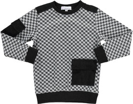 Boys Houndstooth Print Black Sweater