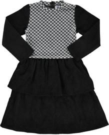 Girls Houndstooth Print Black Dress