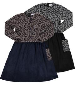 Girls Leopard Print Button Down Dress