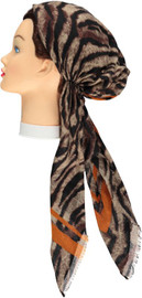 Women Tiger Print Pre-tied Headscarves - HS126