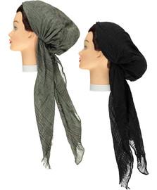 Women Multi Lurex Striped Pre-tied Headscarves