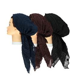 Women Crinkle Solid Pre-tied Headscarves
