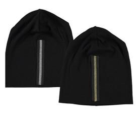Riqki Women's Faux Zipper Ribbed Beanie