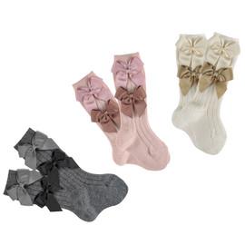 Girls Wool Blend Knee Sock W/ Grosgrain Bows