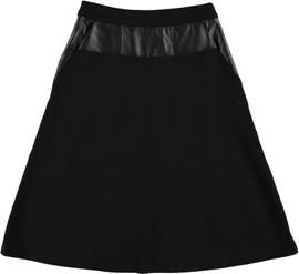 Women's Ponti A-line Skirt w/Leather Trim