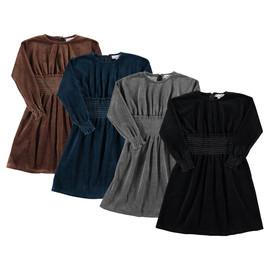 Girls Velour Gathered Waist Dress