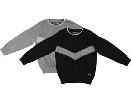 Boys 100% Cotton V-Shape Crew Neck Knit Sweater