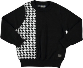 Boys 100% Cotton Houndstooth Knit Sweater