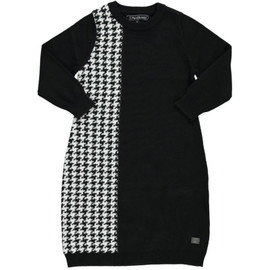 Girls 100% Cotton Houndstooth Knit Sweater Dress