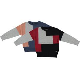 Boys 100% Cotton Squared Crew Neck Knit Sweater