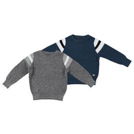 Boys 100% Cotton Stripe Crew Neck Knit Sweater